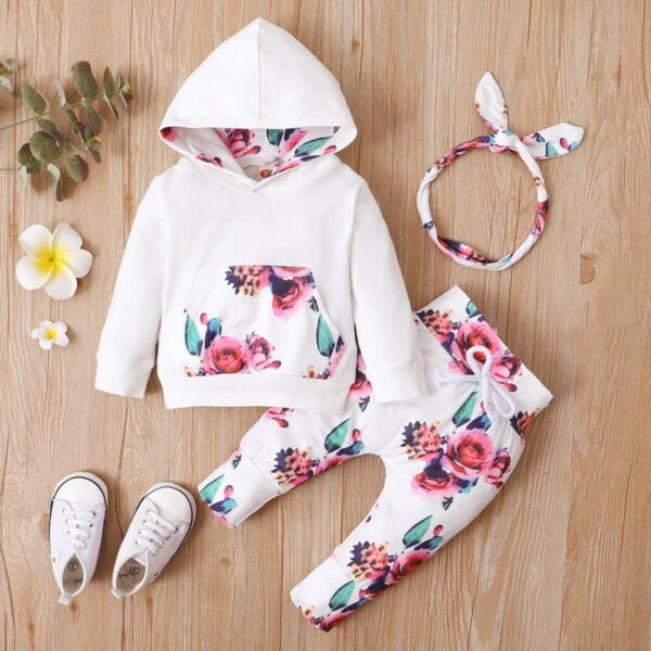 Newborn Baby Girl Clothes Floral Hoodie Tops Long Pants Headband 3Pcs Outfit Set