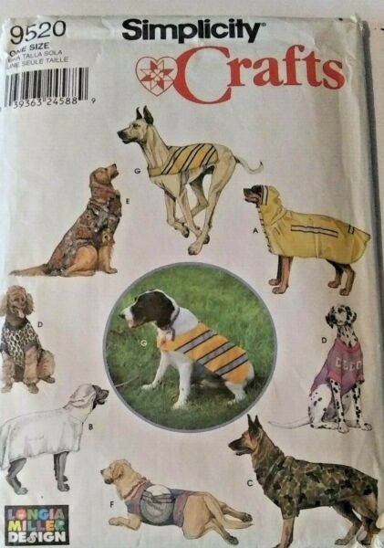 Simplicity Sewing Pattern 9520 crafts dog clothes size Large uncut preowned $8.99