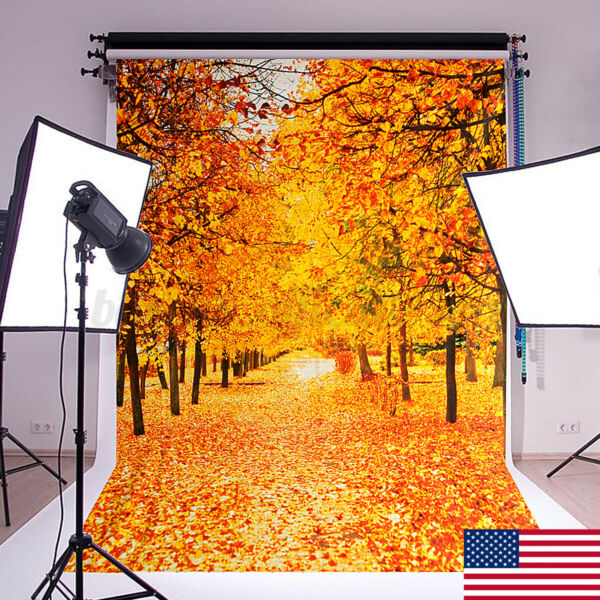 7x5ft Fall Maple Forest Vinyl Photo Backdrop Photography Background Studio Props