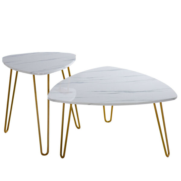 Marble Iron Feet Coffee Table Side 2 Sets 84x83x46cm White
