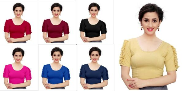 Pure Lycra Stitched Blouse Indian Designer Wedding Paty Wear Saree Blouse Top $11.99