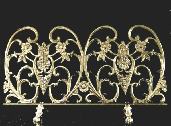 Vintage Single Panel French Inspired Gold Metallic Cast Iron Fireplace Screen
