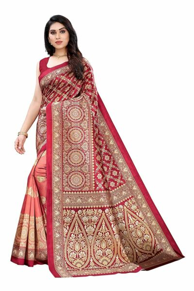 Womens Art Silk Printed Saree With Unstitched Blouse $17.91