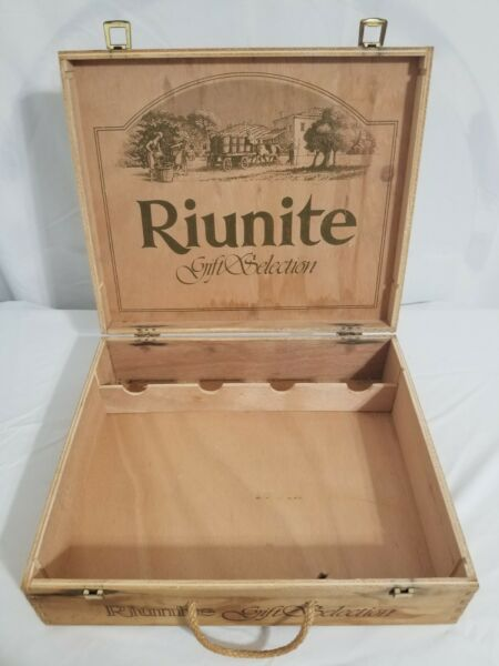 D 1986 RIUNITE WOODEN WINE GIFT SELECTION BOX VINTAGE Made In Italy
