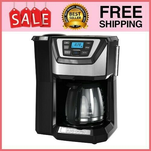 12 Cup Programmable Stainless Steel Drip Coffee Maker with Built In Grinder