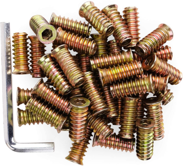 40Pcs Anwenk 1 4quot; 20 x 25mm Furniture Screw in Nut Threaded Wood Inserts Bolt $14.91