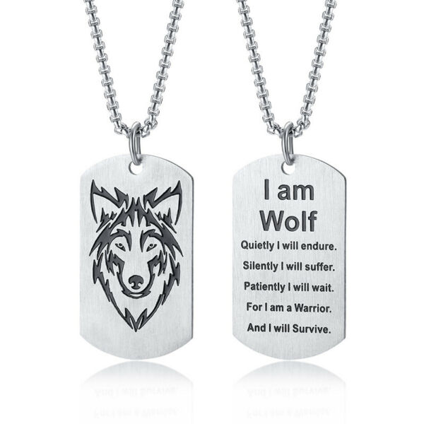 Men Necklace Viking Nordic Norse Wolf Dog Tag Biker I Am Wolf Stainless Steel $11.99