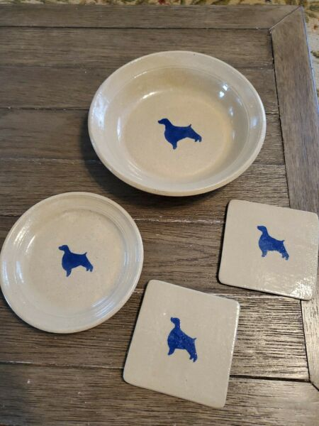 Greengate Pottery Dog Dishes Water Bowl 9quot; Plate 6.5quot; amp; Trivets 4.5quot; HANDMADE $34.99