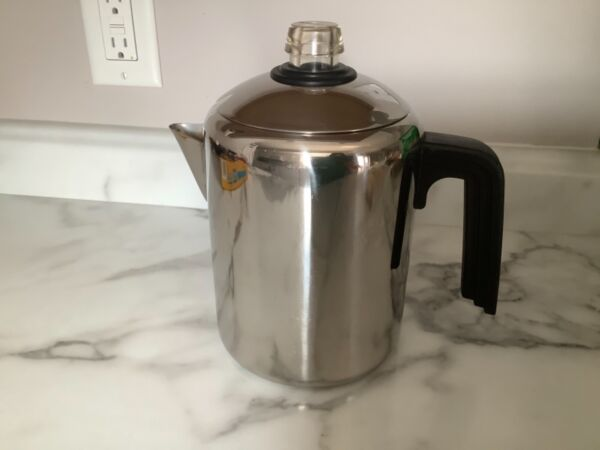 FARBERWARE Stainless Steel Stove Top or Camping Percolator Coffee Pot 8 Cups