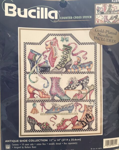 """Bucilla Counted Cross Stitch Kit """"Antique Shoe Collection"""" NIP 11""""x14"""""""