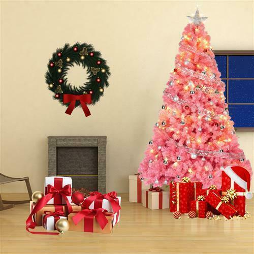 New Style 6Ft Artificial PVC Christmas Tree Holiday Indoor Stand Base Home Pink $71.95