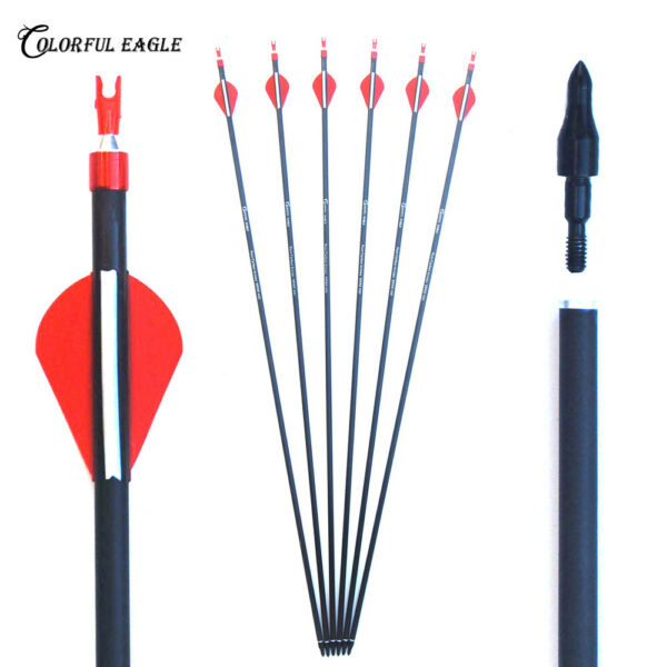 Archery Arrows Carbon Spine 300 400 Target Points Recurve Bow Hunting Shooting $21.66