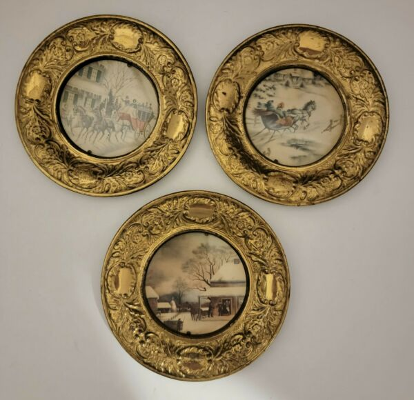 Antique Brass Picture Frames Made In England Pre owned Set of 3 handcrafted art