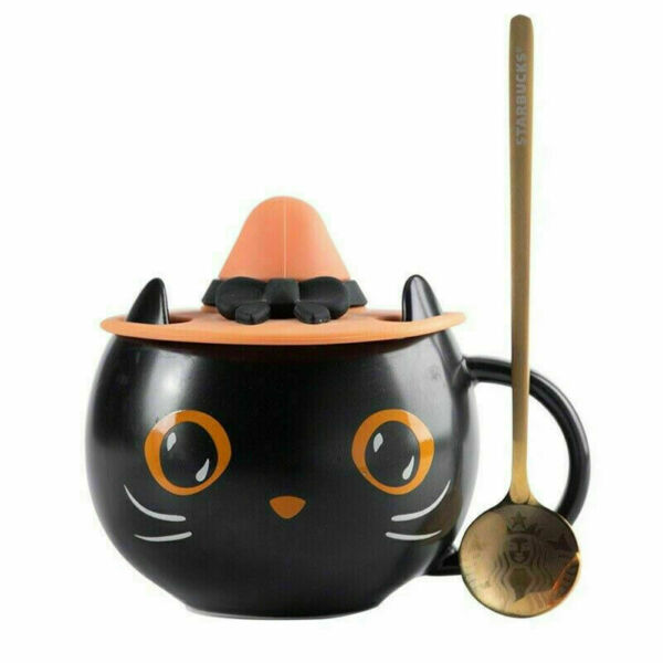 2021 Starbucks Black Cat Cup Water Mug Halloween Gift with Witch Cap Lid amp; Spoon