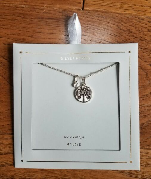 Silver Plated Family Tree Necklace Silver