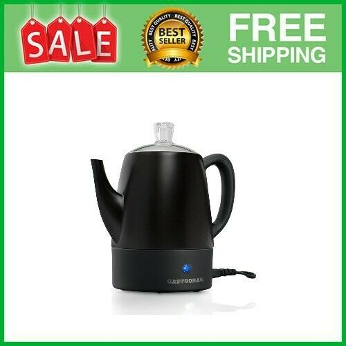 4 Cup Electric Coffee Percolator Stainless Steel 4 cup Black