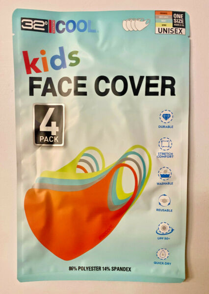 32 Degrees Cool Kids Unisex Face Cover 4 pack Durable Stretch Washable UPF 50 $14.95