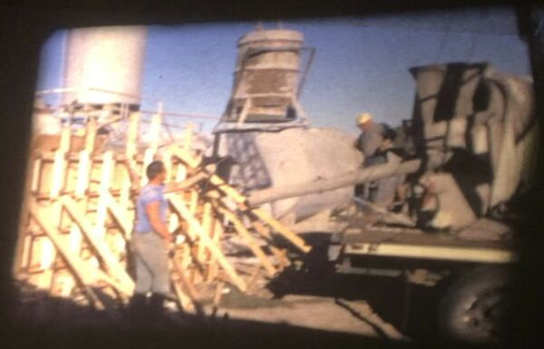 Concrete Construction Pouring In Wood Forms Truck Super 8 Home Movie Film Reel
