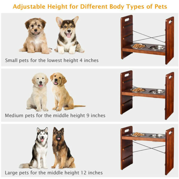 Elevated Raised Pet Dog Feeder Stand Wooden 2 Stainless Steel Food Water Dishes $25.99