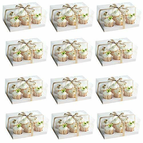 12 Set Clear Cupcake Boxes Cupcake Containers Plastic Disposable Cupcake Boxe...
