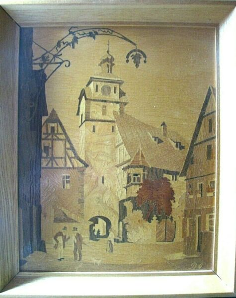 BG Buchschmid amp; Gretaux Marquetry Wood Inlay Rothenberg White Tower Germany...