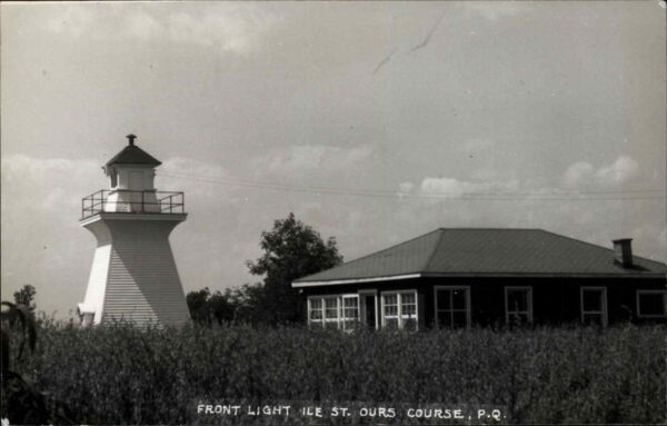 Quebec Front Lighthouse Isle Ile St. Ours Course Real Photo Postcard
