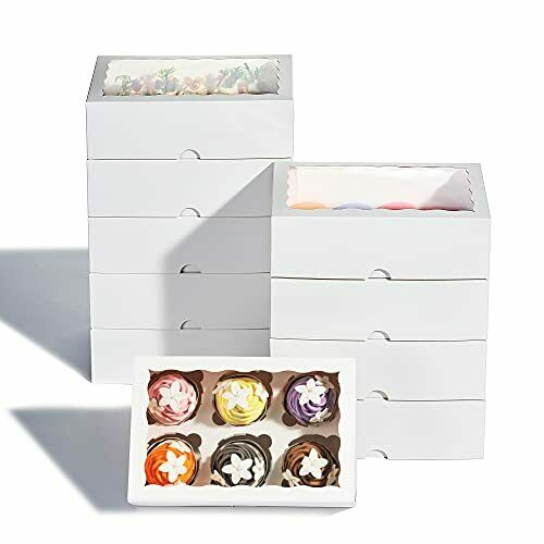 50 Packs Premium Cupcake Boxes with Inserts and Window Hold Standard 6 Cupcak...