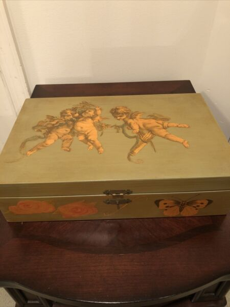 Vintage Wood Hand painted Jewelry Trinket Box Silver Sparkly Fabric Lining Angel