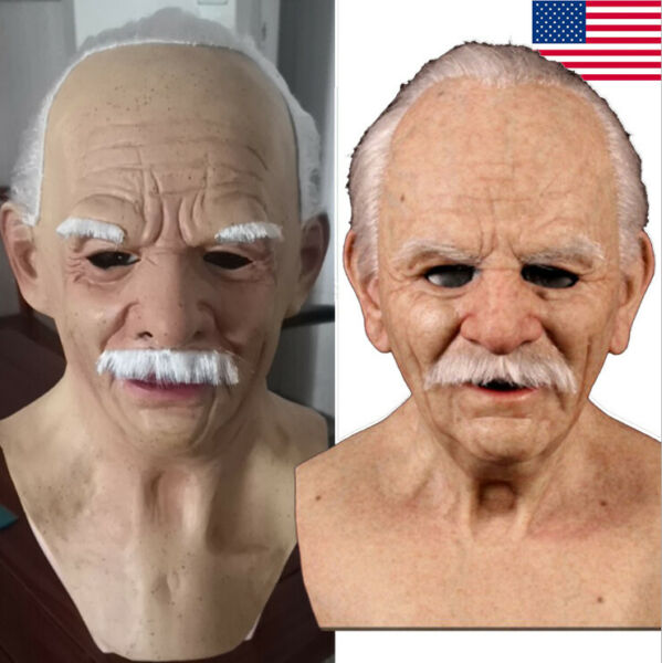 Old Man Mask Latex Halloween Cosplay Party Realistic Full Face Masks Headgear $17.99