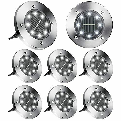 Brizled Solar Ground Lights 8 Pack 8 LED Solar Disk Lights Outdoor in Ground ... $39.23