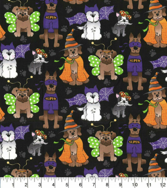 Halloween Dogs Pups in Costumes on Black Cotton Fabric By the yard $12.20