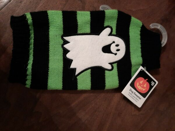 Ghost Sweater Black amp; Green Halloween Costume Dogs Dog Puppy Size XS 12# 15# $8.90