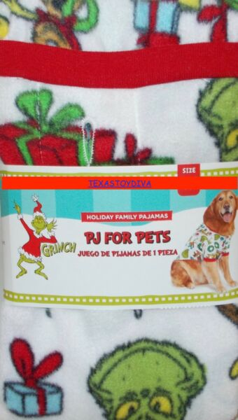 Dr. Seuss THE GRINCH PJ#x27;s Pets Dog Christmas Sweater Holiday Small Winter White $12.99