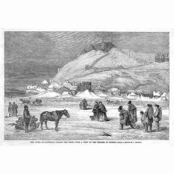 QUEBEC View on the St Lawrence River Antique Print 1859