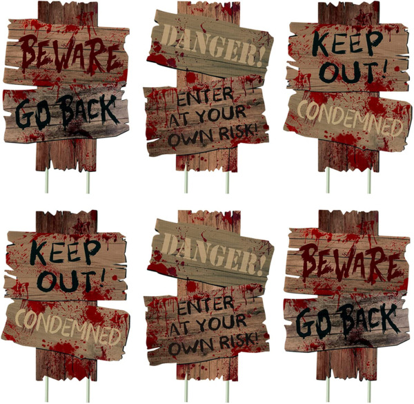 3ps amp; 6ps Halloween Decorations Beware Signs Yard Stakes Outdoor Creepy Assorted $21.27