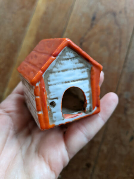 Vintage Miniature Ceramic Dog House Made in Japan 2quot; High $6.99