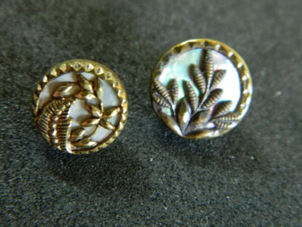 Two Tiny Antique Buttons MOP PEARL set w Brass Floral Designs