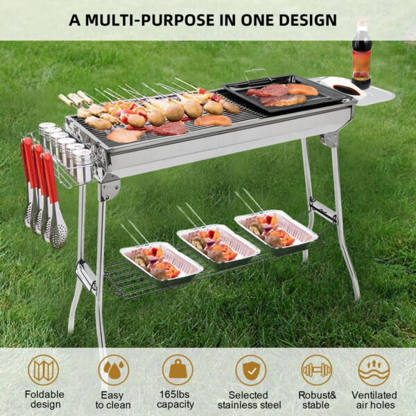 IKayaa Stainless Steel Barbecue Charcoal Grill Kabob BBQ Grill W Frying Pan F5O8