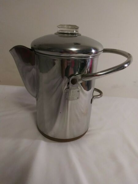 Revere Ware Camping 14 Cup Percolator Coffee Pot Stainless Copper Clad