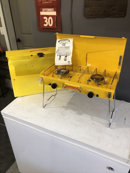 Nice AMERICAN CAMPER DOUBLE BURNER STOVE PROPANE or BUTANE YELLOW CASE CAMPING
