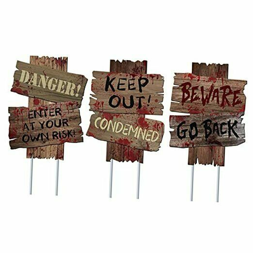 Halloween Decorations Beware Signs Yard Stakes Outdoor 3 Pieces 12quot; x 9quot; $18.84