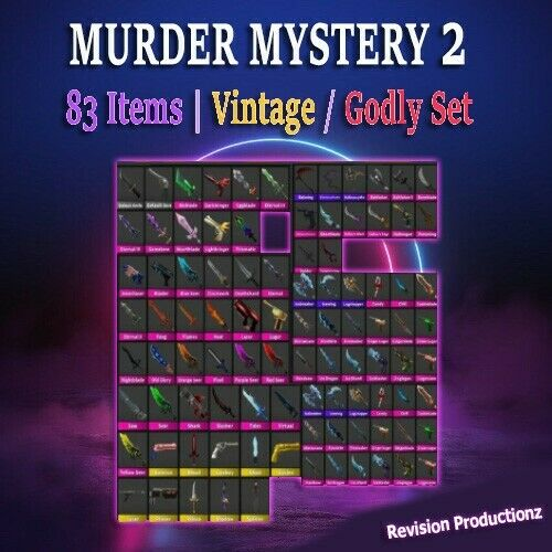 Roblox Murder Mystery 2 MM2 Small Set 83 Items FAST DELIVERY $7.99