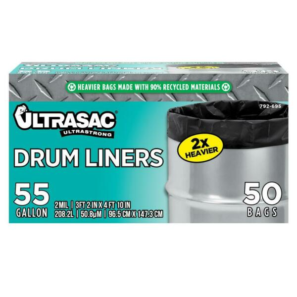 55 Gal. Drum Liner Trash Bags 50 Count Heavy Duty Thick Recycled Material $31.00
