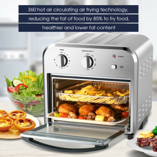 1500W Air Fryer Toaster Oven 10.5 QT Dehydrate Convection Ovens w 3 Accessories