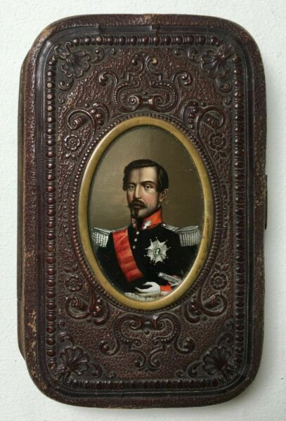 Old Cigarette Case Fixed Under Glass With The Effigy Of Napoleon III...