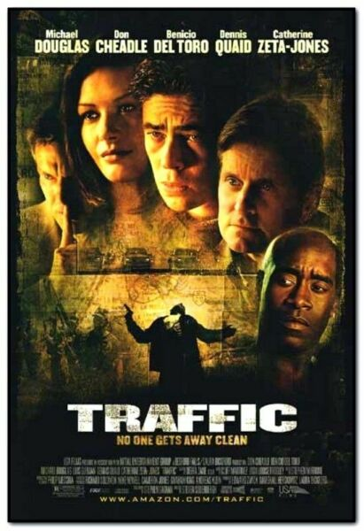 TRAFFIC orig 2 sided movie poster BENICIO DEL TORO 2000