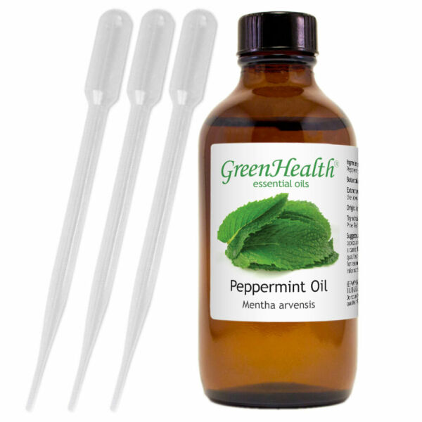 Peppermint Essential Oil 4 oz Pure Natural with 3 Free Droppers