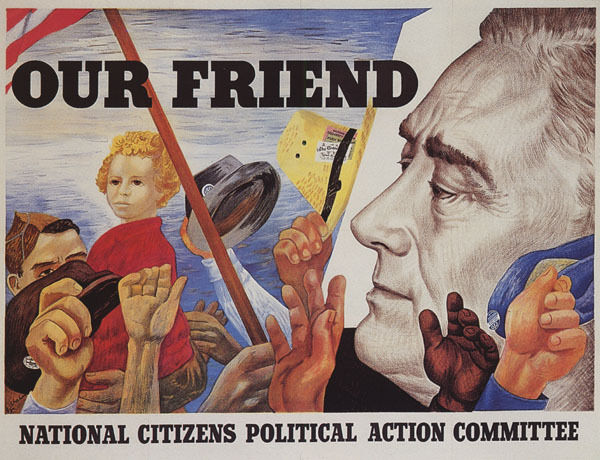 FRANKLIN ROOSEVELT OUR FRIEND POLITICAL ACTION COMMITTEE VINTAGE POSTER REPRO