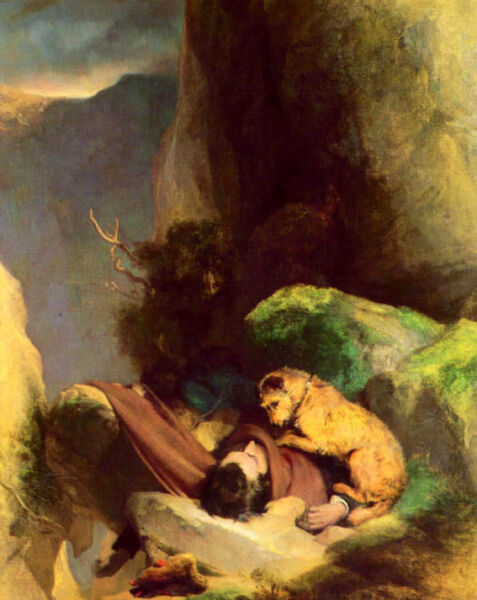 DOG ATTACHMENT DEATH OF OWNER GRIEVE ANIMAL PAINTING BY LANDSEER REPRO $74.00