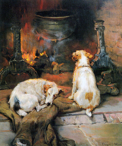 DOG FIRE WARMING BY THE HEARTH ANIMAL PAINTING BY PHILIP STRETTON REPRO